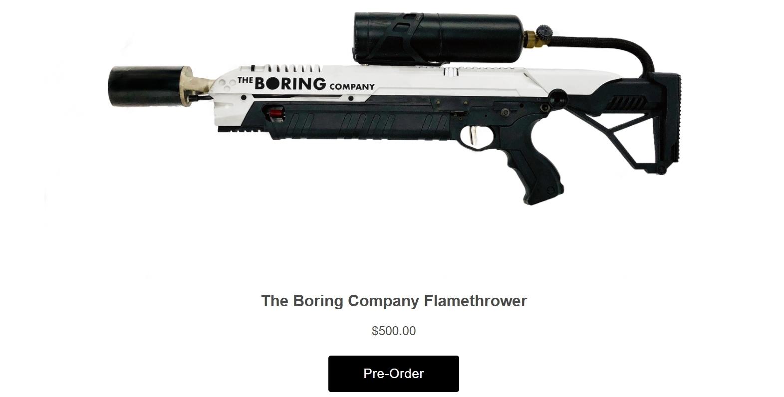 Илон Маск показал в действии свой огнемет за $500