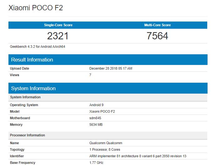 Смартфон Xiaomi Pocophone F2 появился в бенчмарке Geekbench до анонса
