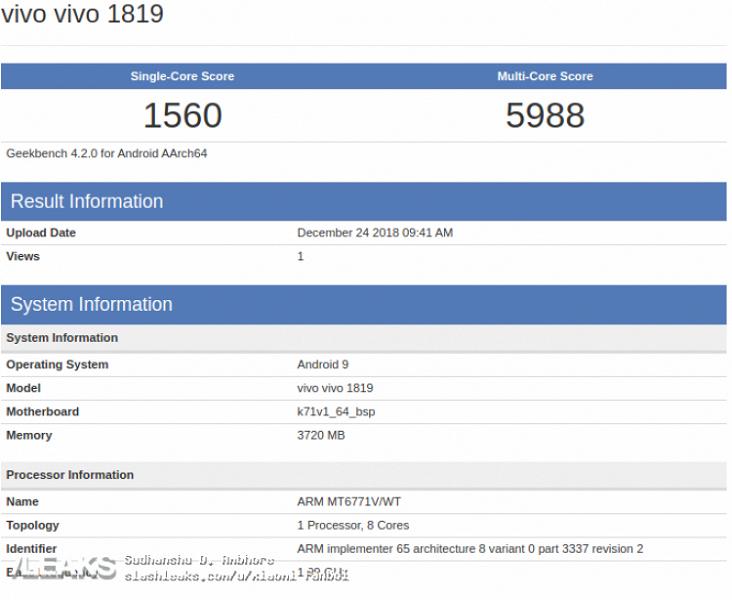 Новый смартфон Vivo с MediaTek Helio P70 появился в Geekbench