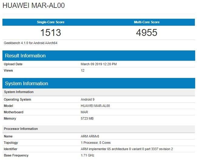Новый Huawei Nova 4e с процессором Kirin 710 появился в Geekbench