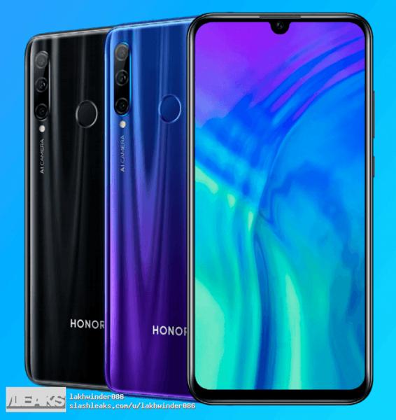 Смартфон Honor 20 Lite показали на рендерах в Сети