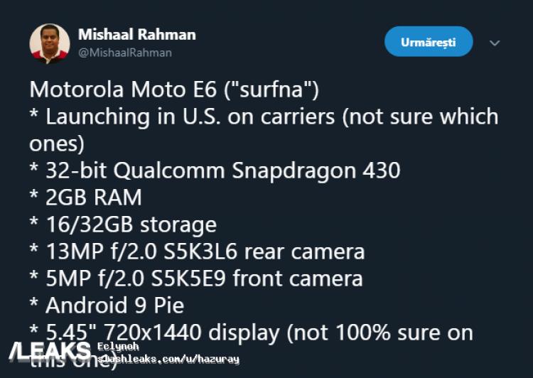 В Сеть слили основные характеристики бюджетного смартфона Moto E6