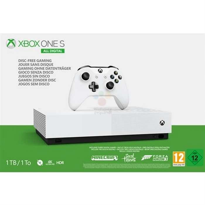 Названы характеристики и цена бюджетной консоли Xbox One S All Digital