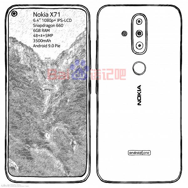 Смартфон Nokia X71 с тройной камерой раскрыли на эскизе