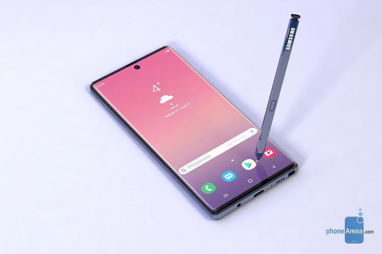 Рендер от PhoneArena раскрыл особенность смартфона Samsung Galaxy Note10