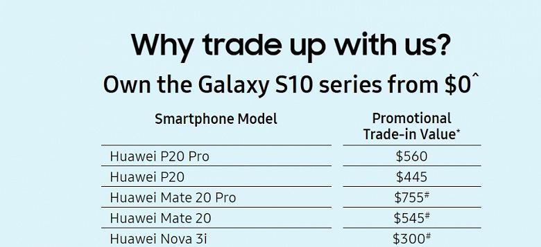 Samsung предлагает обменять смартфоны Huawei на Galaxy S10