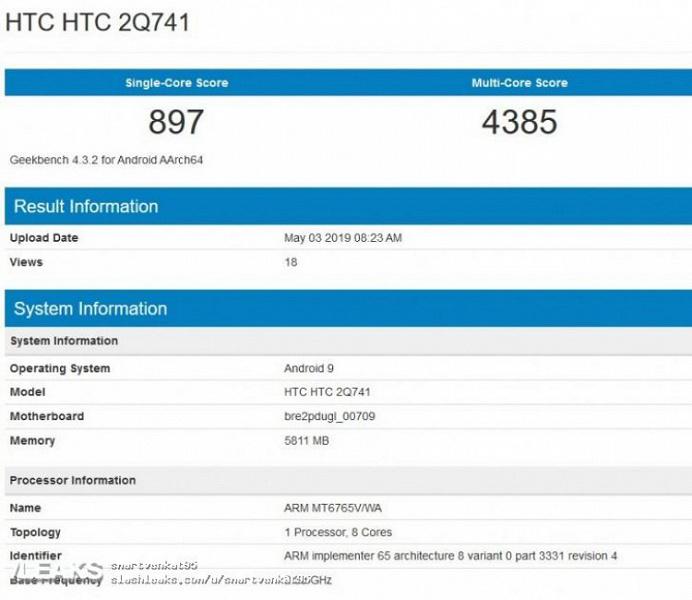 Новый смартфон HTC получил процессор MediaTek Helio P35 и 6 ГБ ОЗУ