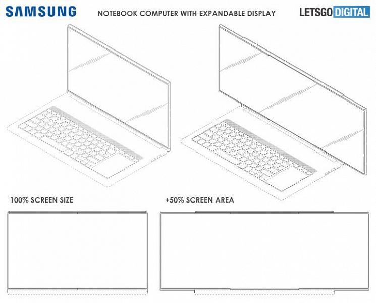 Samsung запатентовал ноутбук с расширяющимся на 50% экраном