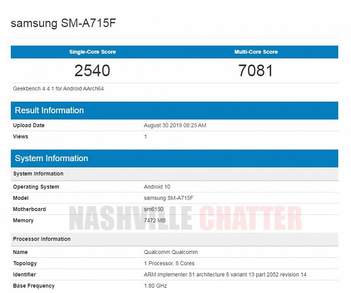 Samsung Galaxy A71 с Android 10 протестировали в Geekbench