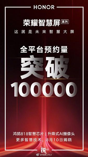 Смарт-ТВ Honor Smart Screen заказали уже более 100 тыс. клиентов