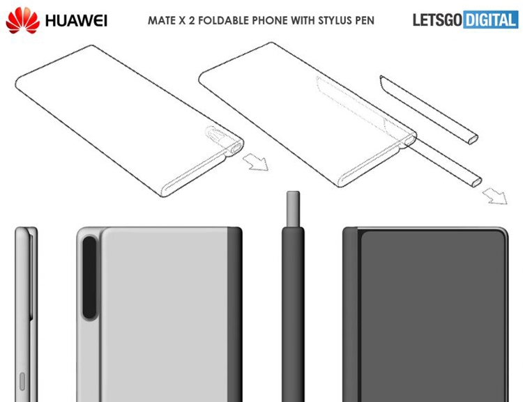 Huawei запатентовала гибкий смартфон со стилусом