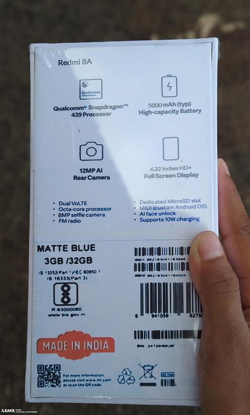 Упаковка Redmi 8A раскрыла основные характеристики смартфона