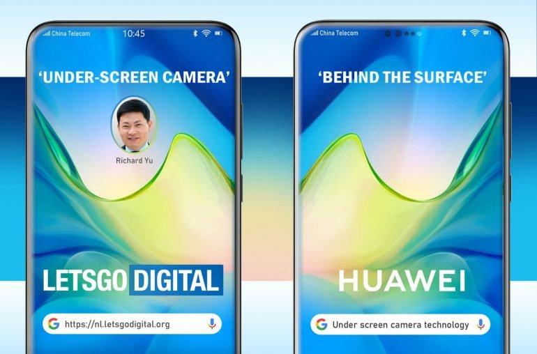 Huawei намерена спрятать за дисплей смартфона все датчики и камеру