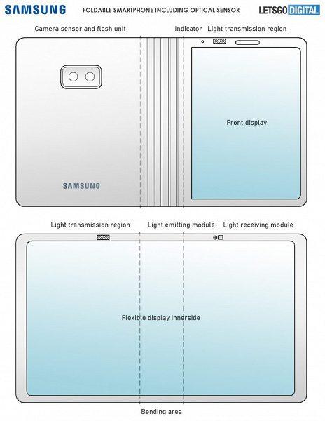 Samsung запатентовала дизайн Galaxy Fold 2 с подэкранной камерой