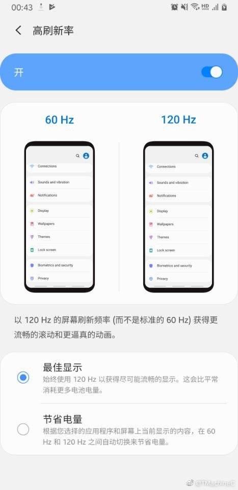 Samsung Galaxy S11 сможет включать кадровую частоту экрана до 120 Гц