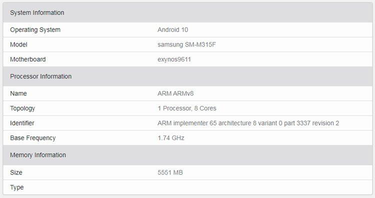 Смартфон Samsung Galaxy M31 появился в базе данных Geekbench