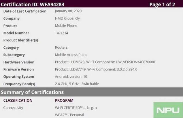 В Wi-Fi Alliance зарегистрирован первый смартфон Nokia с Android 10