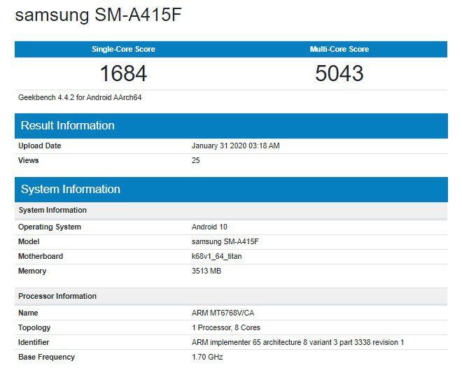 В Geekbench протестирован Samsung Galaxy A41 с Helio P65 и 4 ГБ ОЗУ