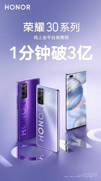 Первая партия смартфонов Honor 30 распродана за 1 минуту