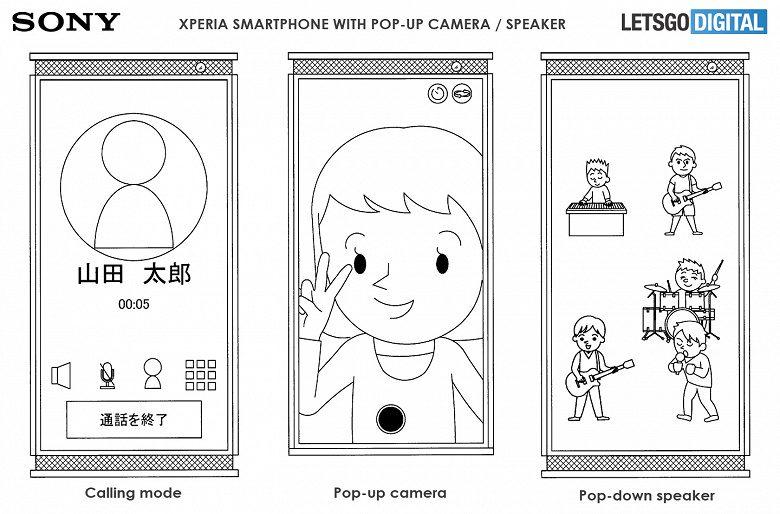 Sony запатентовала смартфон с выдвижной акустической системой