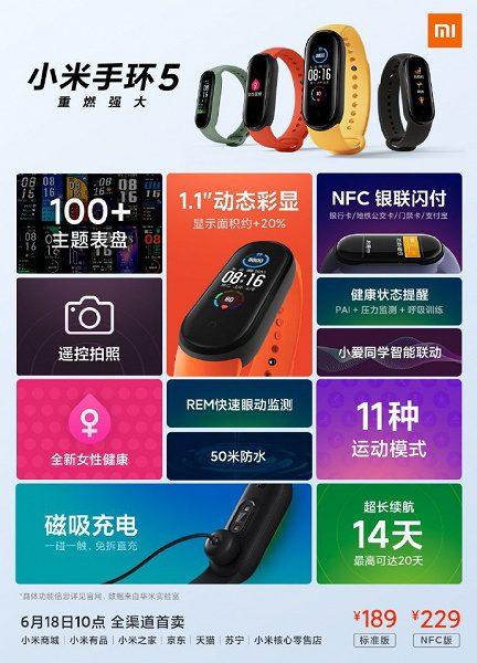 Представлен фитнес-браслет Xiaomi Mi Band 5 в версии с NFC и без
