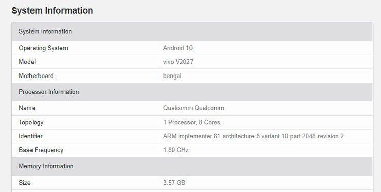 Vivo Y20 станет одним из первых, который получит Snapdragon 460