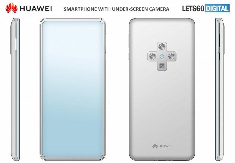 Huawei запатентовал смартфон с подэкранной и крестообразной камерами