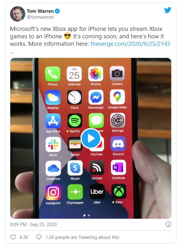 Новое приложение Microsoft Xbox позволяет транслировать игры с Xbox One на iPhone или iPad