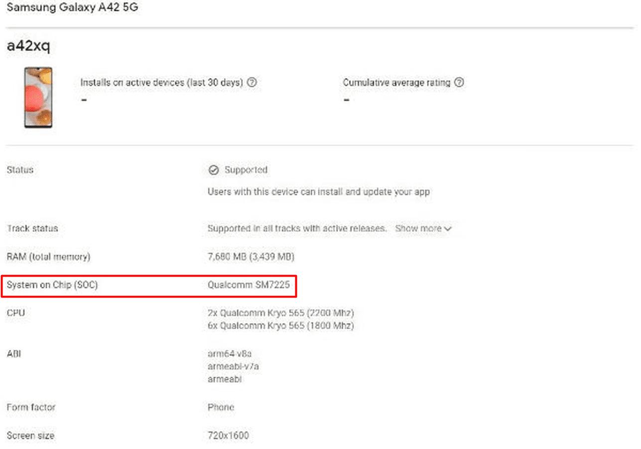 Samsung Galaxy A42 5G работает на чипсете Snapdragon 750G