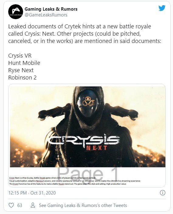 В утечке документов Crytek упоминается королевская битва по вселенной Crysis