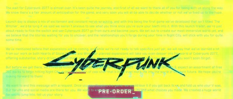 Разработчик Cyberpunk 2077 показал в Сети релизный трейлер игры