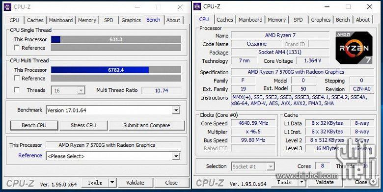 Серийный APU AMD Ryzen 7 5700G оказался быстрее инженерных экземпляров
