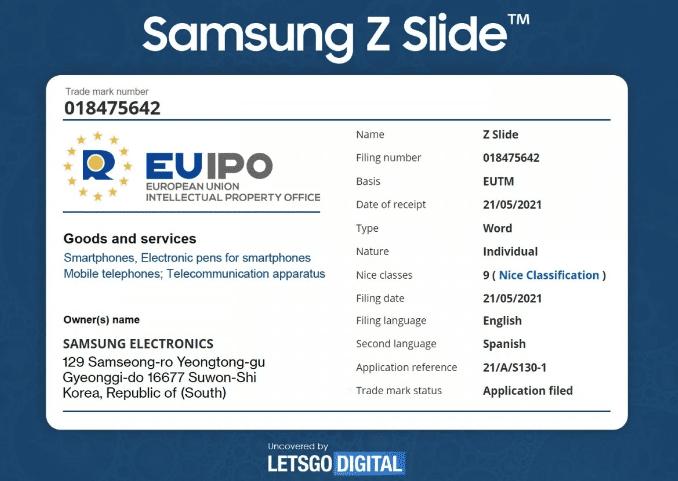 Samsung зарегистрировал торговую марку «Z Slide» в Европейском ведомстве интеллектуальной собственности (EUIPO)