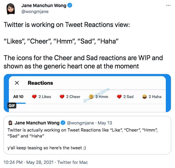 Twitter работает над просмотром реакций на твиты в стиле Facebook