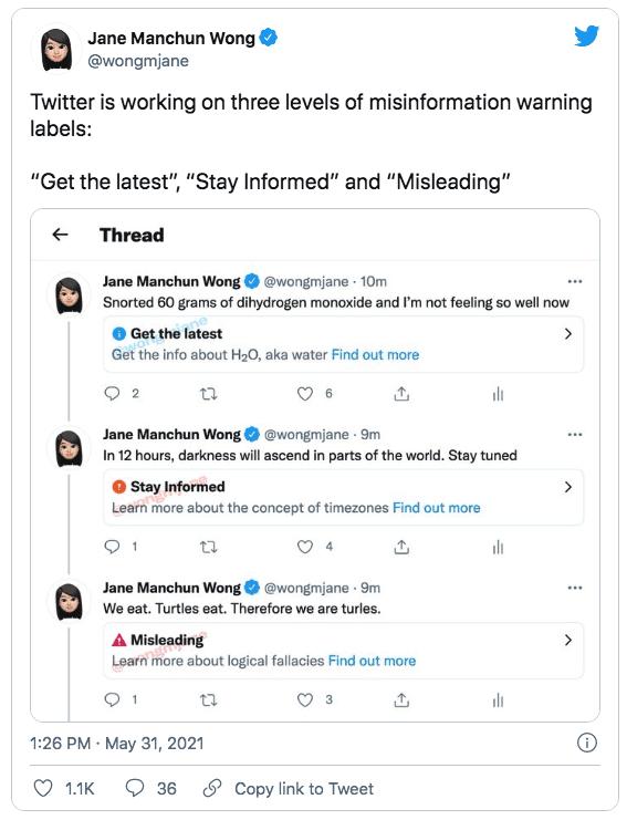 Twitter работает над тремя разными предупреждениями о дезинформации