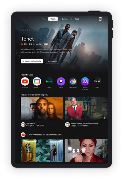 Google выпустила новый интерфейс для планшетов на Android в стиле Google TV