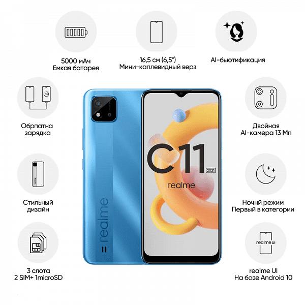 В РФ стартовали продажи нового смартфона Realme C11 с NFC за 8500 рублей