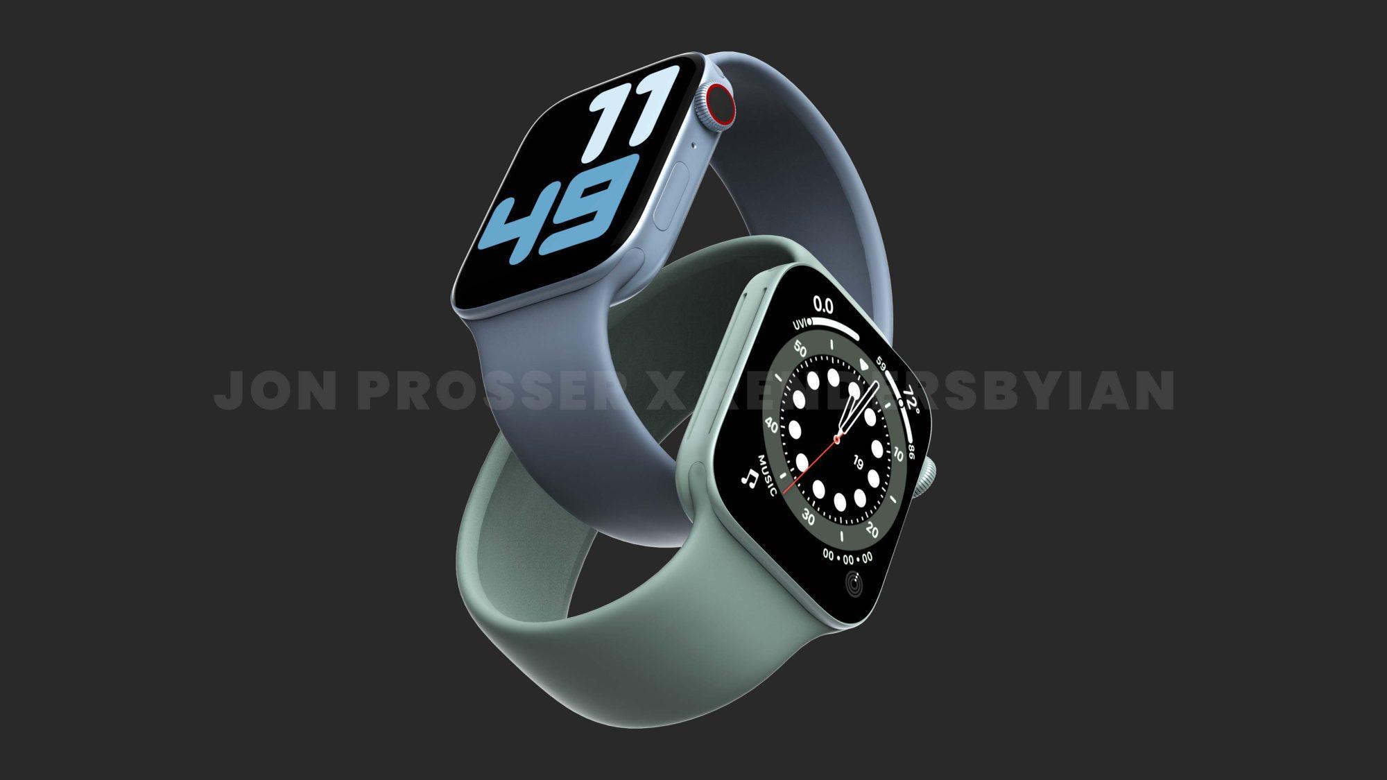 Apple Watch Series 7 будут иметь дизайн с плоскими краями и зеленый цвет