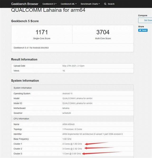 Более мощная версия Snapdragon 888 Pro появилась в Geekebench