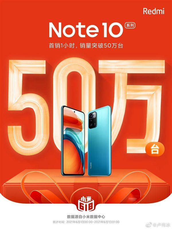 Redmi Note 10 был продан в количестве 500 000 единиц за час