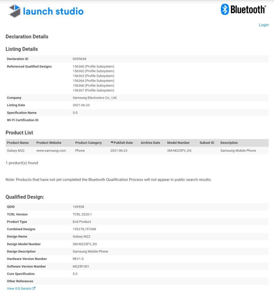Samsung Galaxy M22 получил сертификат Bluetooth