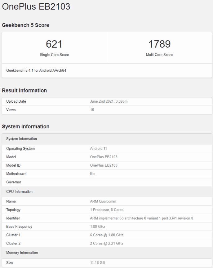 OnePlus Nord CE 5G в списке Geekbench показывает вариант с 12 ГБ оперативной памяти