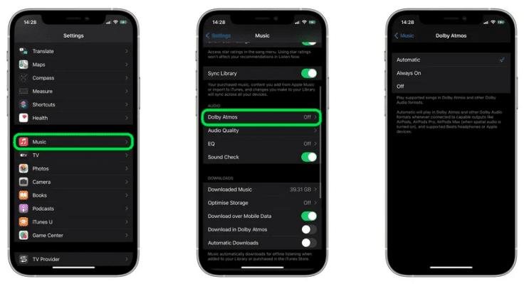 Apple Music: как включить пространственный звук Dolby Atmos
