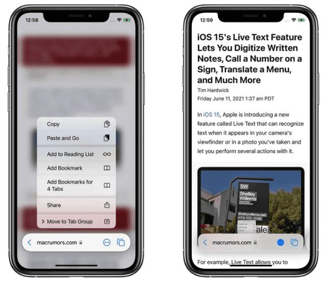 iOS 15: новая панель вкладок, группы вкладок и переключатели вкладок Safari