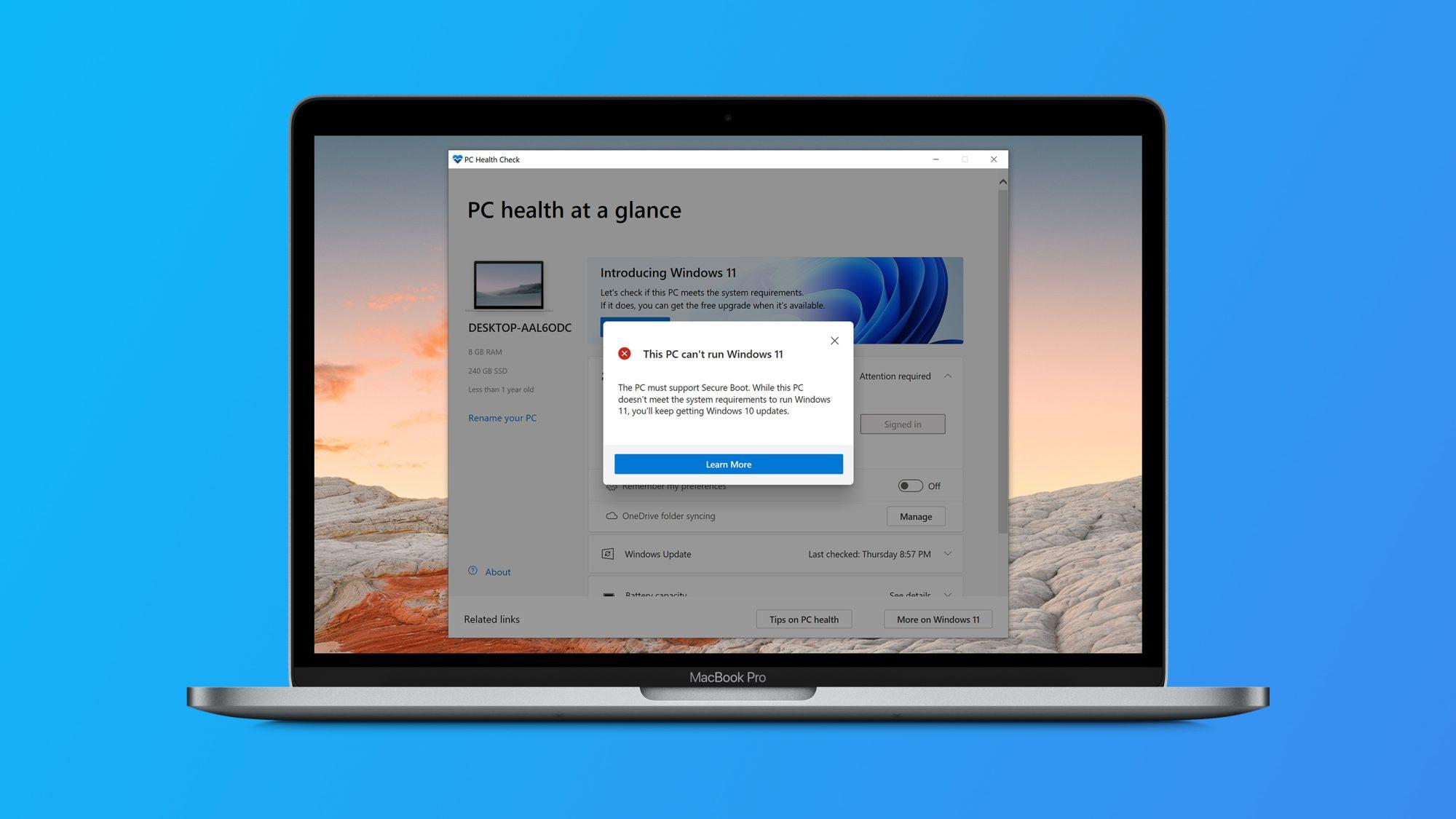 Windows 11 не будет официально поддерживаться ни одним Mac на Intel