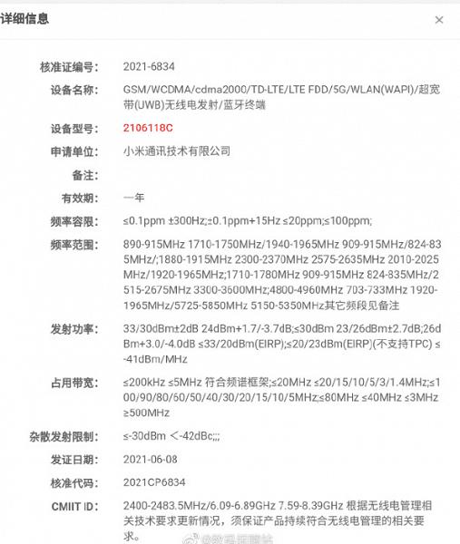 Xiaomi сертифицировала в Китае флагманский смартфон Xiaomi Mi Mix 4