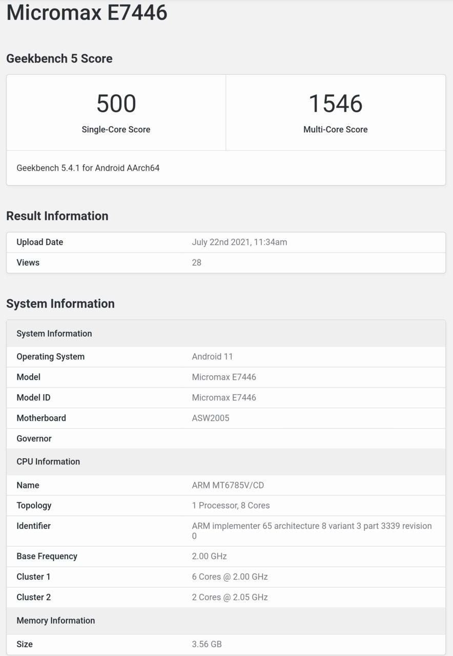 Micromax E7746 на базе MediaTek Helio G95 появляется в Geekbench