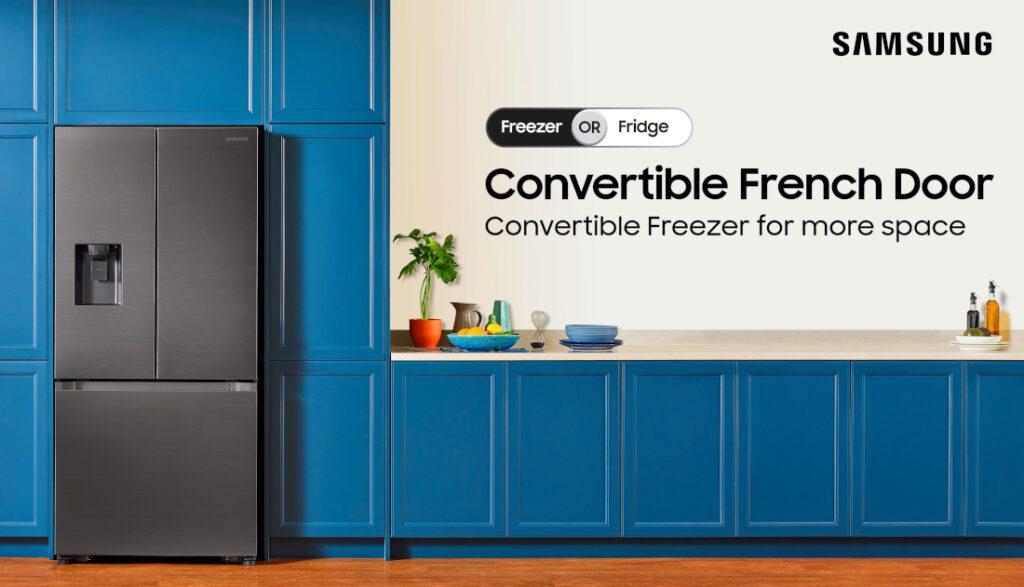 3-дверный трансформируемый холодильник Samsung с французскими дверьми представлен в Индии