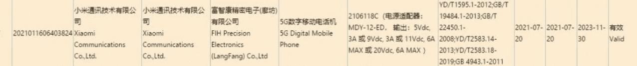 Сертификация Mi MIX 4 '3C подтверждает поддержку быстрой зарядки 120 Вт