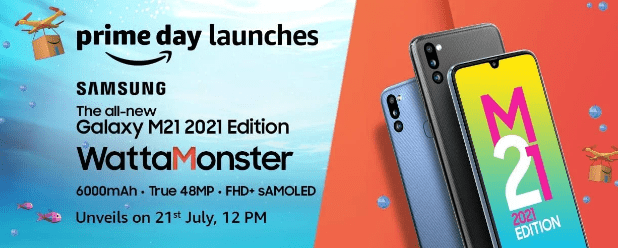 Samsung Galaxy M21 2021 Edition указан на целевой странице Amazon India